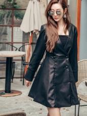 格紋&皮質-大V領雙排釦洋裝