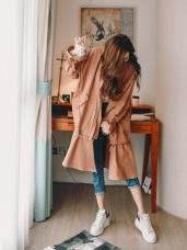 純色荷葉裙擺兩穿長版洋裝外套