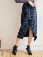 荷葉邊格紋磨毛顯瘦鉛筆裙