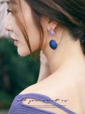 幾何多邊形雙色針式耳環