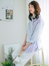 拼接條紋綁帶兩穿式襯衫