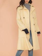 荷葉裙襬雙排釦風衣洋裝外套