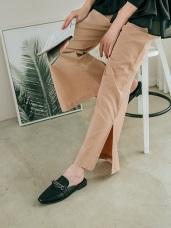 腰綁帶打摺感顯瘦開岔寬褲