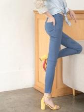 破損感純色顯瘦窄管褲