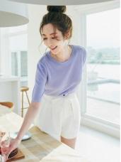 粉嫩純色混亮蔥短袖針織衫