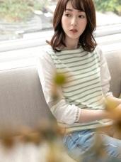 BEST 配色條紋鏤空白色五分袖上衣