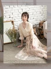 浪漫優雅雕花蕾絲長裙