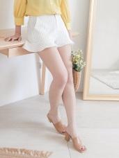 荷葉設計條紋修身短褲