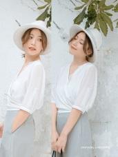 【婚禮穿搭】簡約雪紡蕾絲V領上衣