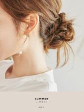 不對稱珍珠垂墜線條針式耳環