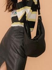 BLACK簡約拼接皮革兩用包/附贈小包