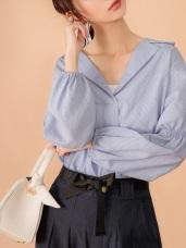 大翻領條紋造型袖襯衫