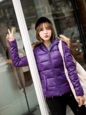 超保暖加厚羽絨系列~蓬鬆滾毛邊連帽羽絨外套‧女4色