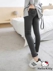 HELLO KITTY口袋刺繡造型彈性窄管褲.3色