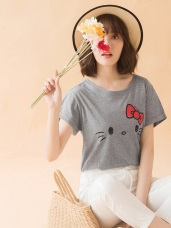 野餐系列.台灣製造KITTY印圖反褶袖高含棉上衣