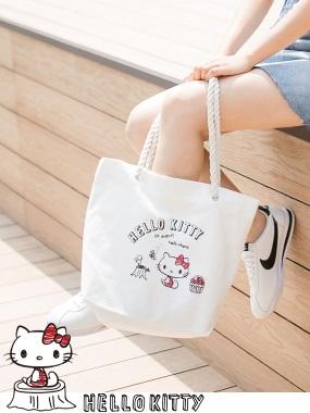野餐系列~KITTY印圖麻繩帆布包