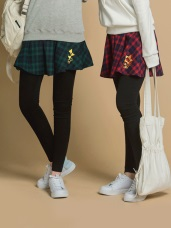 格紋KITTY燙金印花格紋假兩件式內搭褲裙
