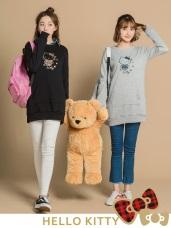 台灣製造~格紋KITTY印圖口袋造型內刷毛長版上衣