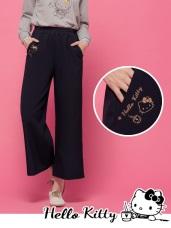 台灣製造~咖啡KITTY印花設計腰鬆緊寬褲