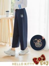 台灣製造~格紋KITTY腰鬆緊不易皺寬褲