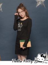 台灣製造~咖啡KITTY合身磨毛長版上衣/洋裝
