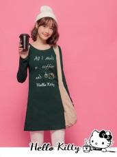 咖啡KITTY字母印花磨毛修身洋裝