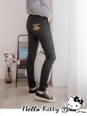 咖啡KITTY~腰鬆緊彈力修身窄管牛仔褲