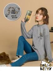台灣製造~點點KITTY拼接條紋袖長版上衣