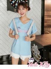 夏日Kitty印圖高含棉V領反褶袖T恤