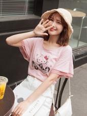 台灣製造~音樂Kitty高含棉層次荷葉袖上衣