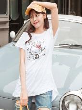 台灣製造~音樂Kitty高含棉不規則長版上衣