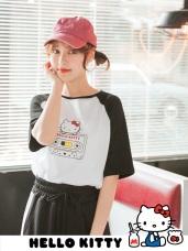 復古Kitty卡帶印圖高含棉撞色寬鬆T恤