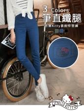 音樂Kitty印圖高含棉塑型修瘦彈力窄管褲