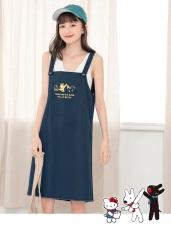 麗莎與卡斯柏xKITTY 印花高含棉純色吊帶裙