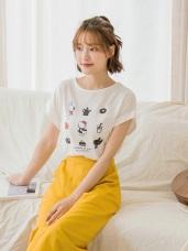 麗莎與卡斯柏xKITTY九宮格印花設計反摺袖上衣