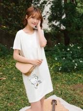 KITTY法國系列前短後長印花洋裝