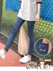 櫻桃小丸子X貓咪高含棉口袋印花窄管長褲
