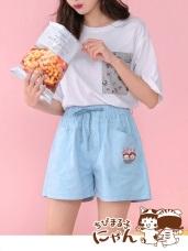 櫻桃小丸子貓咪系列LOVE高含棉腰鬆緊綁帶短褲