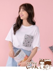 櫻桃小丸子X貓咪系列高含棉口袋印花上衣