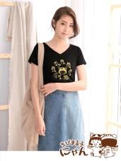 櫻桃小丸子X貓咪系列高含棉印花V領上衣