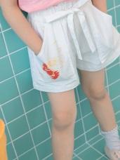 音樂KITTY印圖高含棉腰鬆緊綁帶短褲