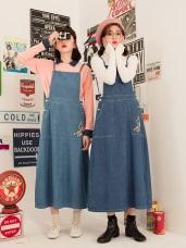 英倫系列~純棉KITTY口袋印花牛仔吊帶裙/長裙