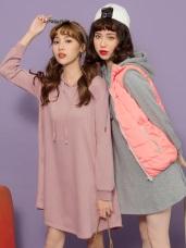 LOVE系列~KITTY印花傘襬連帽洋裝