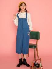 英倫系列~KITTY印花前拉鍊設計寬版七分連身褲