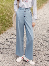 KITTY印花排釦設計直筒寬褲