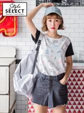 童趣印圖撞色拼接反褶袖高含棉T恤/上衣