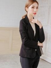 台灣製造.袖口開衩黑色西裝外套