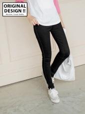 親膚質感設計仿牛仔鬆緊修型窄管褲.2色