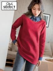 假兩件襯衫領造型內刷毛上衣