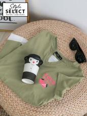 草莓字母刺繡高含棉假兩件上衣